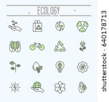 thin line ecology icons set.... | Shutterstock .eps vector #640178713