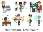 caucasian woman paying wireless ... | Shutterstock .eps vector #640185337