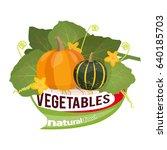 vegetable. pumpkins with leaves ... | Shutterstock .eps vector #640185703
