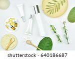 cosmetic bottle containers with ... | Shutterstock . vector #640186687