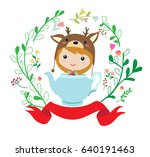 cute little girl in reindeer... | Shutterstock .eps vector #640191463