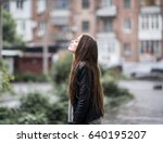 young attractive woman standing ... | Shutterstock . vector #640195207