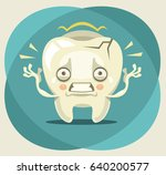 aching unhappy crying tooth... | Shutterstock .eps vector #640200577