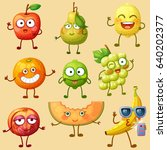funny fruit characters isolated ... | Shutterstock .eps vector #640202377
