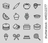 dessert icons set. set of 16... | Shutterstock .eps vector #640212277