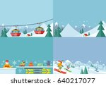 winter tour. mountain landscape.... | Shutterstock . vector #640217077