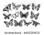 set silhouettes of butterflies. ... | Shutterstock .eps vector #640220413