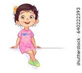 vector dark haired girl in a... | Shutterstock .eps vector #640222393