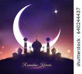 ramadan kareem greetings with... | Shutterstock .eps vector #640244437