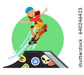 teen kid doing stunt jump from... | Shutterstock .eps vector #640246423