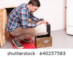 young guy squatting and opened... | Shutterstock . vector #640257583