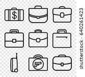 briefcase icons set. set of 9... | Shutterstock .eps vector #640261423