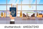 hand holding passport ticket... | Shutterstock .eps vector #640267243