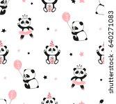 seamless cute panda bears... | Shutterstock .eps vector #640271083