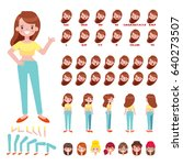 flat vector girl character for... | Shutterstock .eps vector #640273507