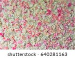 Stock photo pink roses hydrangeas and peonies twined side by side 640281163