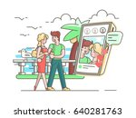 young couple in love with phone | Shutterstock .eps vector #640281763