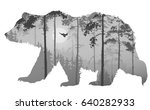 silhouette of a bear. inside a... | Shutterstock .eps vector #640282933