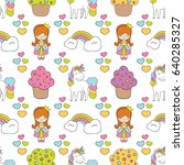 seamless baby pattern with cute ... | Shutterstock .eps vector #640285327
