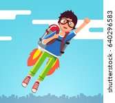 boy flying in the sky clouds on ... | Shutterstock .eps vector #640296583