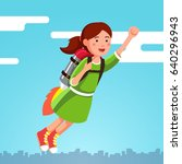 girl flying in the sky clouds... | Shutterstock .eps vector #640296943