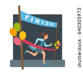 woman reaches finish  red... | Shutterstock .eps vector #640305973