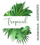 Tropical Banner With Green Pal...
