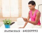 portrait of beautiful african... | Shutterstock . vector #640309993