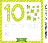 number ten tracing practice... | Shutterstock .eps vector #640311193
