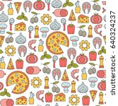 seamless pattern with pizza... | Shutterstock .eps vector #640324237