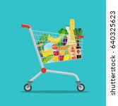 shopping cart full of food.... | Shutterstock .eps vector #640325623