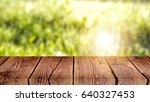 empty of wood table top on blur ... | Shutterstock . vector #640327453