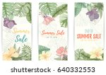 hand drawn tropical palm leaves ... | Shutterstock .eps vector #640332553