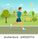 running in city park. man... | Shutterstock .eps vector #640334713
