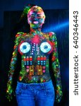 body paint concept. on the body ... | Shutterstock . vector #640346443