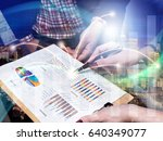 business team analyzing income... | Shutterstock . vector #640349077