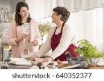 happy granddaughter helping...   Shutterstock . vector #640352377