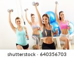 group of smiling people doing... | Shutterstock . vector #640356703