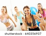 group of smiling people doing... | Shutterstock . vector #640356937