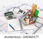 shopping cart with building...   Shutterstock . vector #640360177
