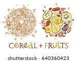 cereal with dehydrated fruits... | Shutterstock .eps vector #640360423