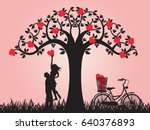 concept of valentine day   two... | Shutterstock .eps vector #640376893