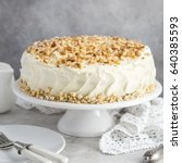 delicious carrot cake with... | Shutterstock . vector #640385593
