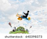woman in retro airplane . mixed ... | Shutterstock . vector #640398373