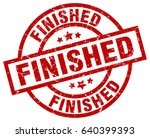 finished round red grunge stamp | Shutterstock .eps vector #640399393