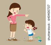teacher scolding student girl...   Shutterstock .eps vector #640400737