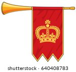 trumpet with red flag vector... | Shutterstock .eps vector #640408783