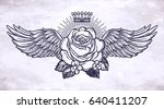 ornate old fashioned wings and... | Shutterstock .eps vector #640411207