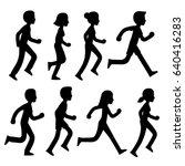 cartoon runners silhouettes set.... | Shutterstock .eps vector #640416283