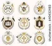vector vintage heraldic coat of ... | Shutterstock .eps vector #640432483
